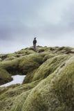 Iceland krajobrazu fotografia Obrazek wąwozu Fjaðrà ¡ rgljúfur Fjadrargljufur Markotne chmury w tle i rzece Obrazy Stock
