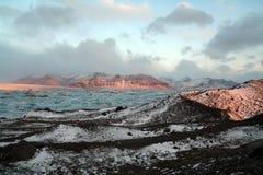 iceland lagunsoluppgång Arkivbild