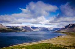 Iceland Lake Scenery. Beautiful Iceland Nature, big lake with mountains behind stock photos