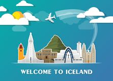 Iceland Landmark Global Travel And Journey paper background. Vec. Tor Design Template.used for your advertisement, book, banner, template, travel business or Royalty Free Stock Photography