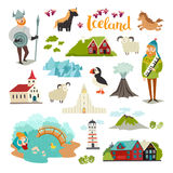 Iceland landmarks vector icons set. Illustrated travel collection. Icelandic travel attraction. Church, houses, puffin, lighthouse and mountains isolated on stock illustration