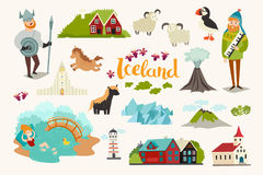 Iceland landmarks vector icons set. Illustrated travel collection. Icelandic travel attraction, isolated on white background royalty free illustration