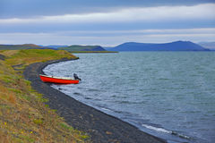 Iceland landscape with boat Stock Image