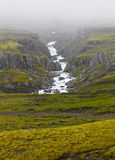 Iceland landscape in the east fiords. River and rocks with fog. Stock Images