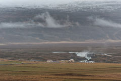 Iceland Landscape and Godafoss Waterfall in Background Stock Photography