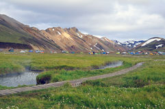 Iceland landscape with hot river in Landmannalaugar Royalty Free Stock Image