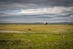 Iceland landscape with house Royalty Free Stock Photos