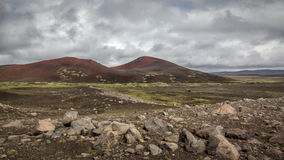 Iceland landscape. Icelandic landscape: inland wilderness with craters and lavafields stock photography