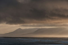 Iceland Landscape with Ocean Water and Clouds in Background Royalty Free Stock Images