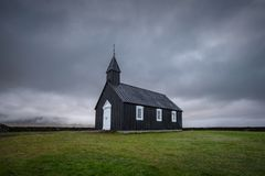 Church Budir in Budahraun lava fields on south coast of Snæfellsnes peninsula at western Iceland stock photos