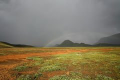 Iceland landscape with rainbow Royalty Free Stock Photography