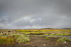 Iceland landscape. Rainbow over an icelandic landscape stock image