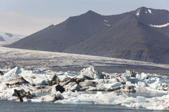 Iceland landscape in southeast area. Jokulsarlon. Icebergs, lake Royalty Free Stock Images