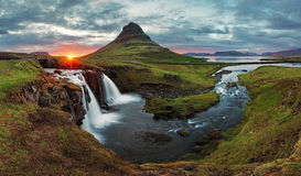 Iceland Landscape spring panorama at sunset. Kirkjufell