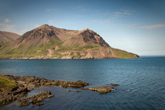 Iceland landscape. View on a fjord in the north-eastern part of Iceland royalty free stock images
