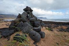 Iceland landscape with volcanic stones Royalty Free Stock Image