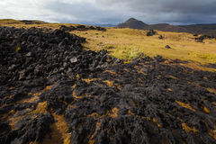 Iceland landscape with volcanic stones Stock Photo