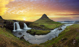 Iceland landscape with volcano and waterfall royalty free stock images