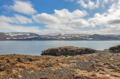 Iceland Landscape with Water and Snow Covered Mountains. In the Summer Stock Photos