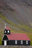 Iceland. Latrabjarg Peninsula. Breidavik Church. Royalty Free Stock Photo