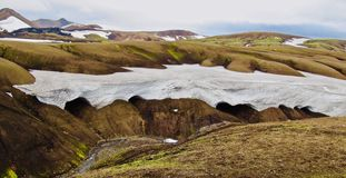 Iceland, Laugavegur wędrówka, więcej śnieg jest happines fotografia royalty free