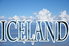 Iceland lettering. On a cloudy background. Landscape overlook at langjokull glacier stock photography