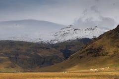 iceland liggande Lös natur, berg, hus, gräs, sno arkivfoto