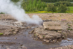 Iceland Little Geysir. With sign Stock Photography