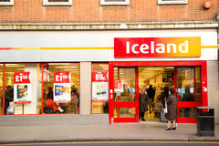 Iceland. LONDON - JANUARY 23RD: The exterior of an Iceland supermarket on January  the 23rd, 2015, in London, England, UK. Iceland is one of Britain's fastest Royalty Free Stock Image