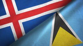 Iceland Lucia i święty dwa flagi tekstylny płótno, tkaniny tekstura royalty ilustracja