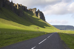 Iceland: Main road of Iceland. So called ring road goes around the whole country along the coast. This view is from the southern Iceland Stock Photo
