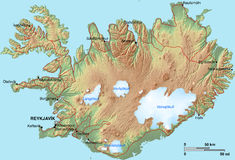 Iceland Map Stock Images