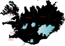 Iceland map. Blind map of Iceland  with regions borders and his names Stock Photos