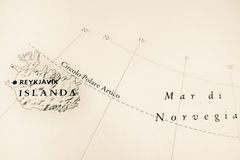 Iceland map for global warming concept Royalty Free Stock Photo