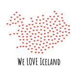 Iceland Map with red hearts - symbol of love. abstract background. Iceland Map with red hearts- symbol of love. abstract background with text We Love Iceland Stock Image