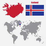 Iceland map on a world map with flag and map pointer. Vector illustration Stock Image