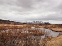 Iceland, March 2015: rough nature. Little lake somewhere in iceland, in the background some snowy mountains Stock Photography