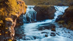 Iceland, mountain river with rapids and waterfalls, beautiful scenery Royalty Free Stock Images