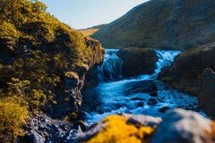 Iceland, mountain river with rapids and waterfalls, beautiful scenery Stock Image