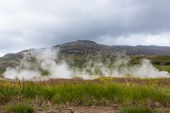 Iceland Mountain Steam. Iceland Steam in volcanic landscape Royalty Free Stock Images