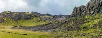Iceland mountain view. Iceland mountain cloudy day panoramic view Stock Images