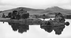 Iceland. Myvatn. Lake and lava formations. Stock Photo