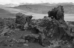 Iceland. Myvatn. Lava formations and mountains. Stock Photo