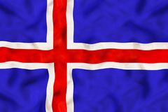 Iceland national flag with waving fabric royalty free stock image