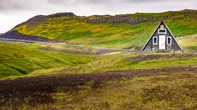 Iceland nature - landscape on Snæfellsnes with traditional Icelandic cottage stock image