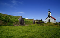 Iceland ancient village with grass roof Royalty Free Stock Images