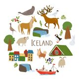 Iceland nature vectorin a circle with  symbols of landscapes, animals and architecture. .