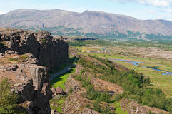 Iceland, Northern Europe, canyon, Thingvellir national park, Almannagja, tectonic, plate, continental drift, nature, green. Almannagja canyon in Thingvellir Stock Image