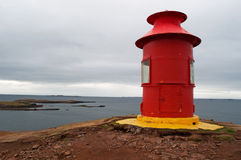 Iceland, Northern Europe, lighthouse, Sugandisey, Snaefellsnes peninsula, nature, climate change. The Sugandisey Lighthouse in Stykkisholmur on August 23, 2010 stock photography