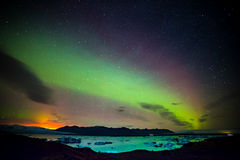 Iceland. Northern lights aurora Milky Way volcanic landscape Royalty Free Stock Photos